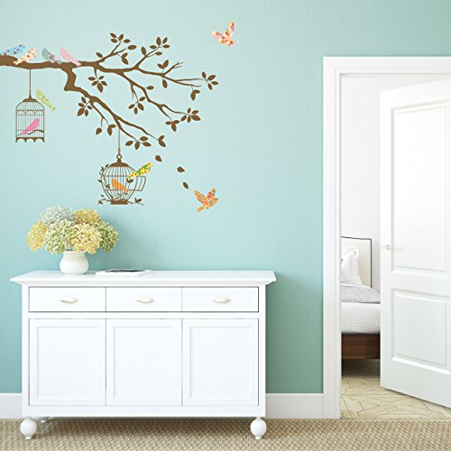 Decowall-DW-1510-Birds-on-Tree-Branch-with-Bird-Cages-Wall-Decals