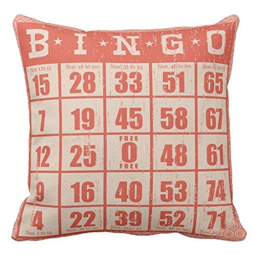 Zazzle Vintage Bingo Card Game Room Throw Pillow 20'' x 20'' by Zazzle