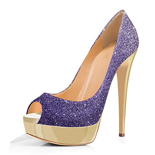 and Platform Toe Shoes Purple Dress On Pumps High Women's Slip Sexy a onlymaker Party Peep Gold Wedding Stiletto Heels 6qa8wX4