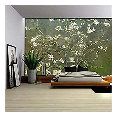 Stunning Composition, With a Professional Touch, Green Textured Almond Blossom by Vincent Van Gogh Wall Mural