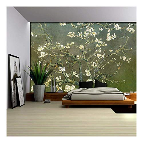 Green Textured Almond Blossom by Vincent Van Gogh Wall Mural