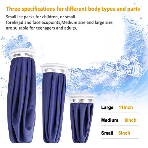 Amariver Reusable Ice Bag Ice Pack For Compress Therapy, Blue 6'' 9'' 11'' Inch Leakproof Cool and Hot Ice Bags To Fix Muscle Strains & Aches (3 Pack) by Amariver (Image #1)
