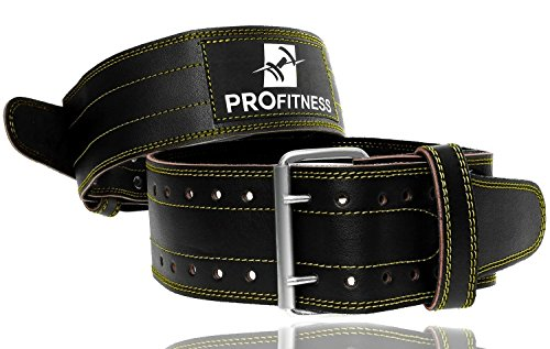 Leather Trim Candy (ProFitness Genuine Leather Workout Belt (4 Inches Wide) – Proper Weightlifting Form – Lower Back and Lumbar Support Cross Training Exercises, Powerlifting Workouts, Deadlifts (Black/Yellow, Medium))