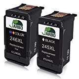 JARBO Remanufactured for PG-245 CL-246 Ink Cartridges High Yield, 1 Black+1 Tri-Color, Shows Accurate Ink Level Used in PIXMA MG2520 MG2522 MG2920 MG2922 MG2924 MG2420 MX490 MX492 IP2820 Printer