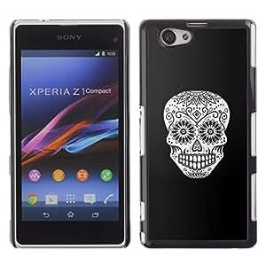 Shell-Star Art & Design plastique dur Coque de protection rigide pour Cas Case pour Sony Xperia Z1 Compact / Z1 Mini / D5503 ( White Black Skull Floral Death Halloween )