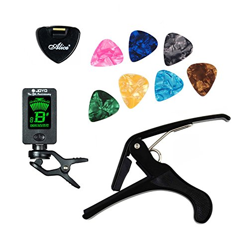 GOSONO Tool Kit Guitar Tuner + Capo + Plectrum Holder + 7 Celluloid Picks Tuning Capotraste Mediator Case Guitarra Parts Accessories
