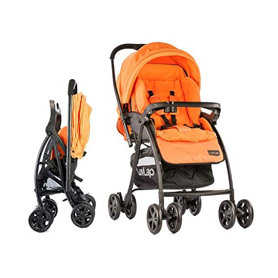 LuvLap Grand Stroller/Pram, Easy Fold, for Newborn Baby/Kids, 0-3 Years (Orange)