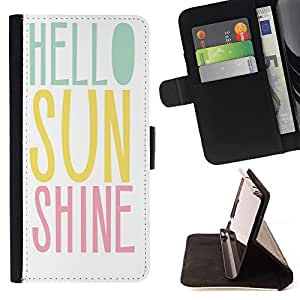 King Art - Premium-PU-Leder-Prima caja de la PU billetera de cuero con ranuras para tarjetas, efectivo Compartimiento desmontable y correa para la mu?eca FOR Apple iPhone 6 6S 4.7 - Hello Sunshine