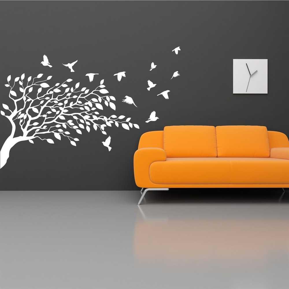 Premiumsticker24 Wandtattoo Baum Baum Baum mit Vögel   Schlafzimmer Wohnzimmer Kinderzimmer Aufkleber selbstklebend Wandaufkleber, 170cm x 115cm, 070 schwarz B01BP0GWUK Wandtattoos & Wandbilder 8902be