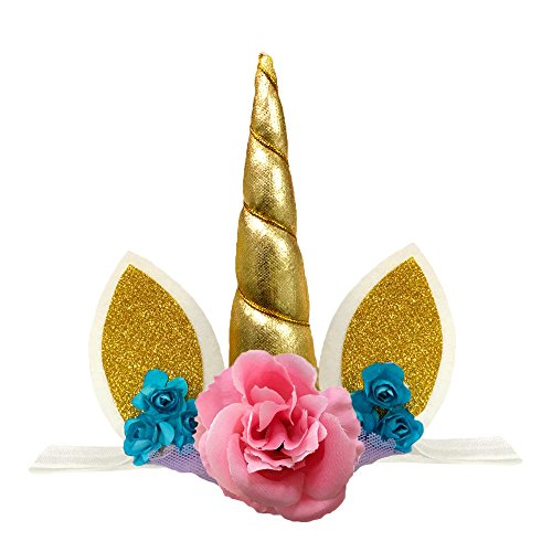 Unicorn Headband Unicorn Birthday Rose Flower Headband Unicorn Party Halloween Christmas Animal Ears (Gold) ()