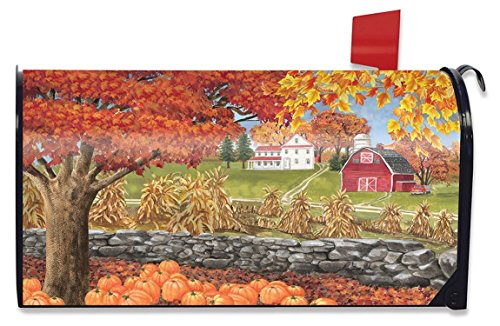 (Briarwood Lane Autumn Day Scene Magnetic Mailbox Cover Fall Leaves Standard)