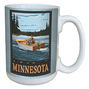 Tree-Free Greetings lm43245 Vintage Minnesota Lake Fishing by Paul A. Lanquist Ceramic Mug with Full-Sized Handle, 15-Ounce, Multicolored