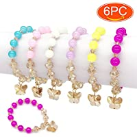 Elesa Miracle 6pc Little Teens Butterfly Pendant Beaded Value Set Kids Girl Party Favor Pretend Play Bracelet, Blue,Pink,Red,Yellow,Purple