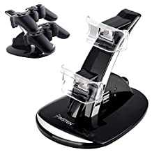 eForCity Dual Charge Station with Stand Compatible with PS3 Controller, Black