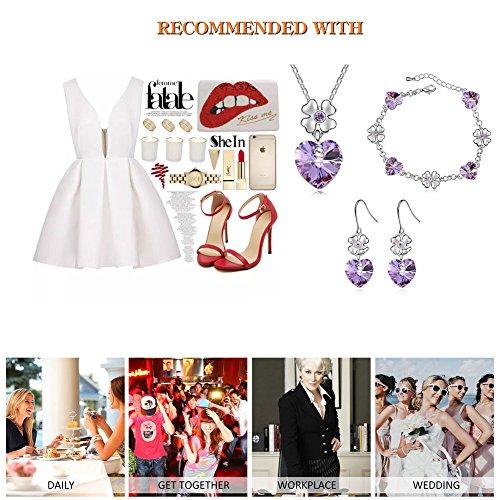 FEDNON Heart Pendant Necklaces Heart Drop Dangel Earrings Bracelet with Violet Australia Crystal Jewelry Sets for Girlfriend by FEDNON (Image #6)