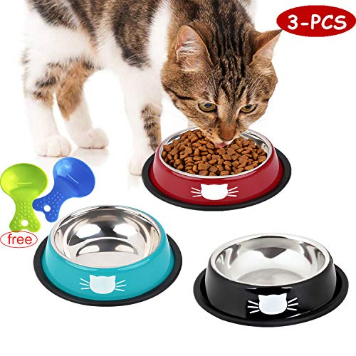 Legendog 3Pcs Cat Bowls, Cute Cat Food Bowls, Stainless Steel Cat Bowl, Cat Bowls for Food and Water, Cat Food Dish with…