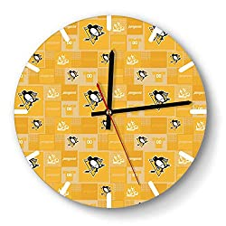GHUET Creative Pittsburgh-Penguins-ice-Hockey-Shoes-Yellow- Style Wall Clock Acrylic Home Quiet Clock