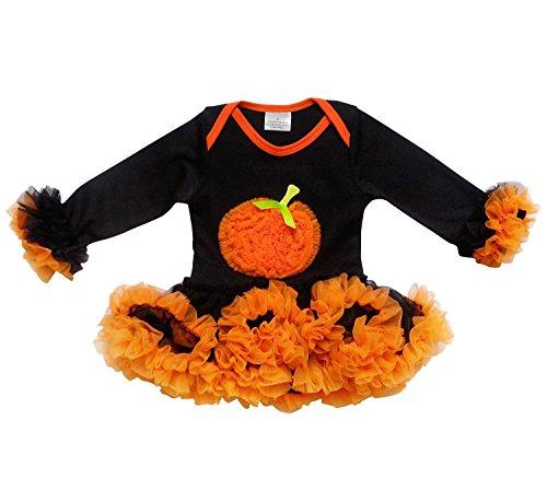 So Sydney Baby Girls Halloween Ruffle Pumpkin Tutu Skirt Bodysuit Romper Costume (S (3-6 Months), Black) -