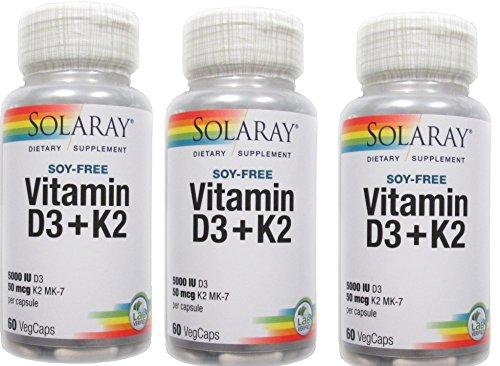Vitamin D-3 & K-2 Solaray 60 VCaps (Pack of 3)