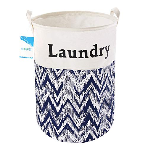 Jacone 19.7'' Large Laundry Basket Foldable Cylindric Waterproof Canvas Fabric Laundry Hamper Storage Basket with Handles, Decorative and Convenient for Kids Bedroom (C) by Jacone
