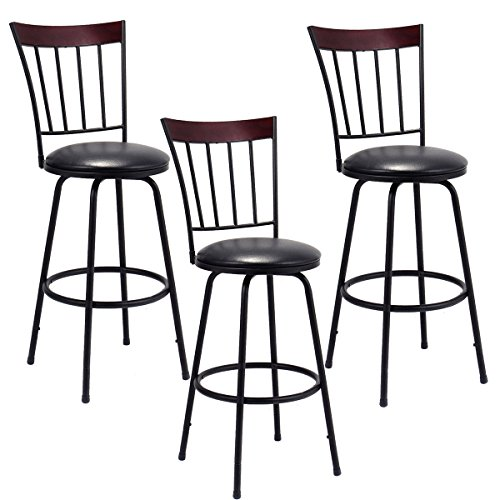 Costway Swivel Counter Height Bar Stool Modern Barstool Bistro Pub Chair Set of 3 (Bar Set Bistro)