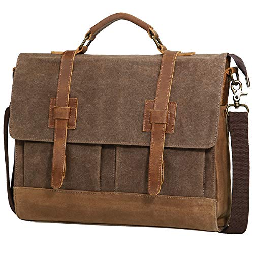 Mens Messenger Bag, Tocode 15.6 inch Vintage Canvas Leather Business Briefcase Large Satchel Shoulder Bags, Water Resistant School College Computer Laptop Bag (Brown)