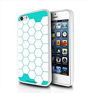 Geometric Hex White on Teal Apple iPhone 5 5S Frosted Cell Phone Case