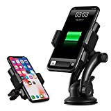 #8: IKOPO Automatic Phone Holder for Car with Wireless Charger,Wireless Charging Mount Fast Charge for Samsung Galaxy S8, S7/S7 Edge, Note 8 5 &Standard Charge for iPhone X, 8/8 Plus & Qi Enabled Devices