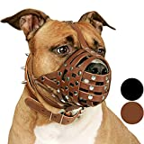 CollarDirect Pitbull Dog Muzzle Leather Amstaff Muzzles Staffordshire Terrier Secure Basket (Brown)