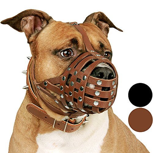 (CollarDirect Pitbull Dog Muzzle Leather Amstaff Muzzles Staffordshire Terrier Secure Basket (Brown))