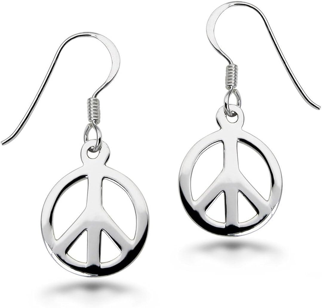 Straightforward Meaningful STERLING Silver PEACE SIGN Dangle Pierced Earrings wImagine Peace Charm Simple