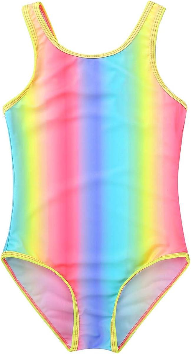 TiaoBug Ragazza Costume Intero da Bagno Bambina Arcobaleno Protezione Solare Body da Nuoto Surf Colorato Costume Mare Piscina Completo da Spiaggia Swimsuit 2-16 Anni