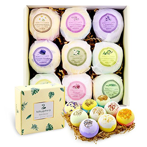 Miuphro Bath Bombs Gift Set, 9 Handmade Bath Fizzies Bomb for Bubble Bath Spa, Perfect for Relaxing, Moisturizing Dry Skin-Natural Essential Oil, Shea & Coco Butter