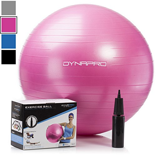 Exercise Ball - 2,000 lbs Stability Ball - Professional Grade – Anti Burst Exercise Equipment for Home, Balance, Gym, Core Strength, Yoga, Fitness, Desk Chairs (Pink, 75 Centimeters)