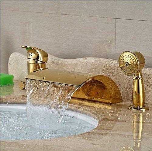 GOWE Modern Golden 3pcs Widespread Bathroom Waterfall Tub Filler Faucet Hand Shower Set Mixer Taps 3