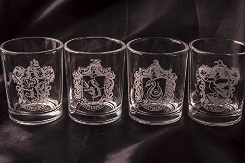 Harry Potter Shot Glasses - Set of 4 House Crests