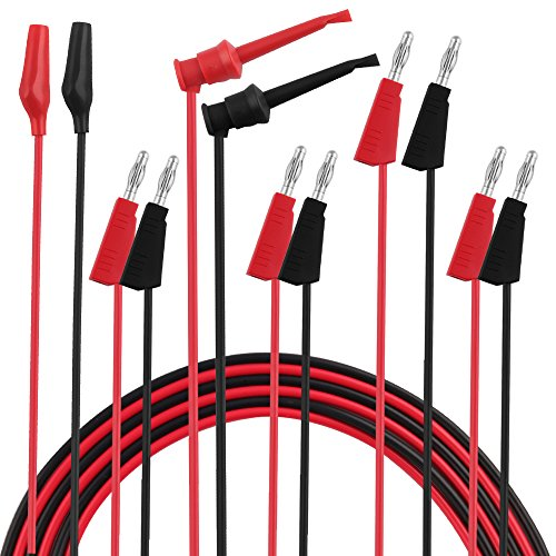 Test Probe Set - Micsoa Multimeter Leads, Electrical Test Lead Kit - Banana to Alligator, Banana to Banana, Banana to Plounger Mini Hooks Test Leads Set(3 Pair)