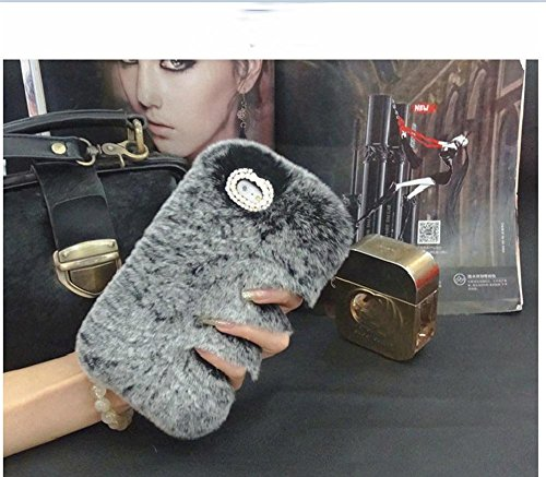 Fluff Trim (LG Stylo/Stylus 2 Case - LU2000 Beaver Rabbit Fur Case With Double Ring Bling Crystals Trim Fluff Cell Phone Back Cover for LG Stylo LG Stylus 2 F720 LS775 K520 AT&T Sprint All Version - Gray)