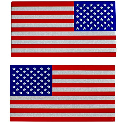 """ALUMINUM American Flag Sticker Decal Emblem 