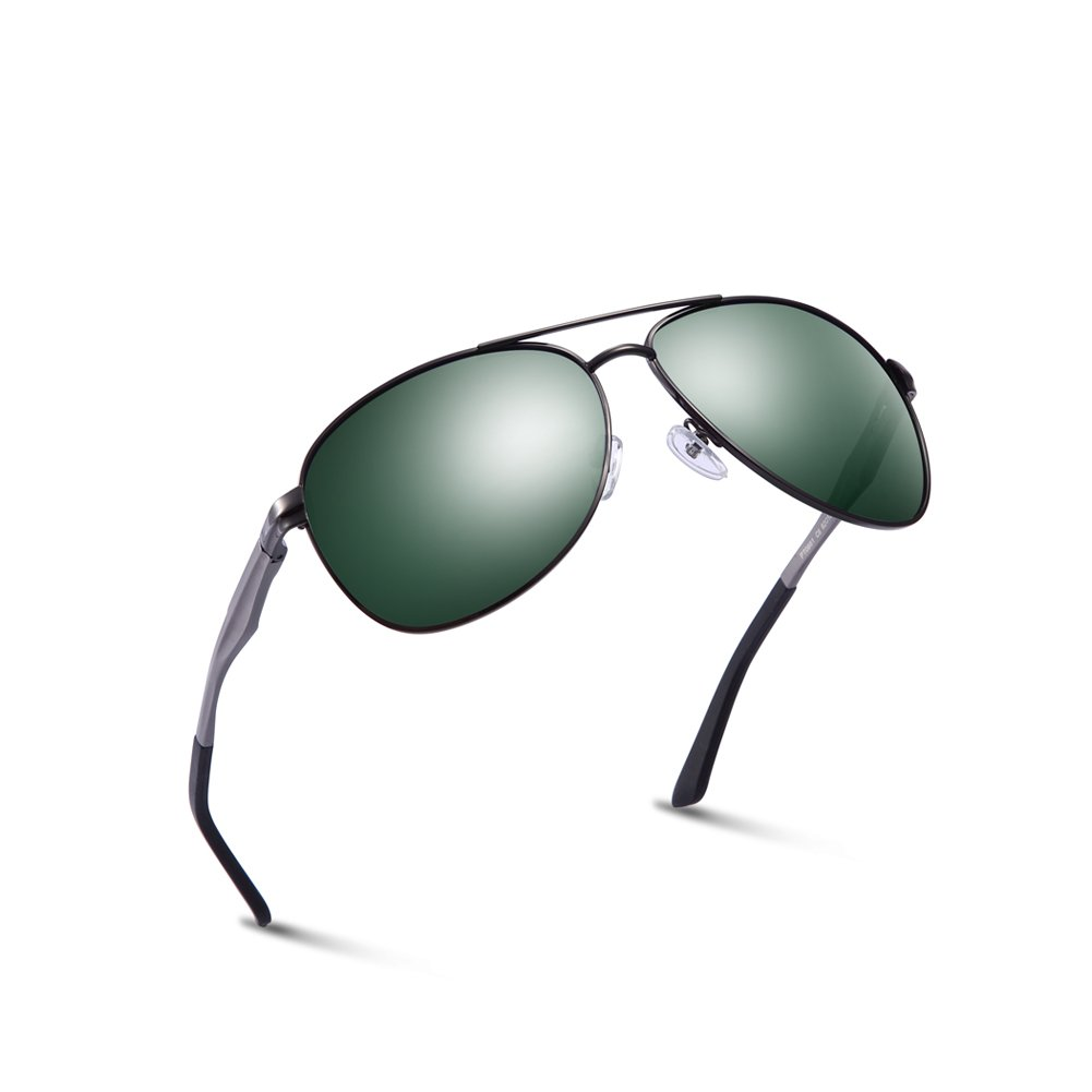 2020Ventiventi Polarized Sunglasses for Men HD Oval Lens Aluminum Frame Aviator Designer Green Glasses Twin-Beams Oversized for Summer PT0881C06