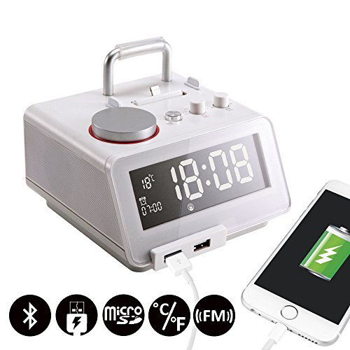 Homtime C12pro Alarm Clock with Bluetooth Speaker, Dual USB Charger, FM radio, Handsfree, 4 Level Dimmable, Lightning Connector, White