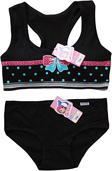 Raylans 3PCS Young Girls Bra and Panties Sets Girls Young Training Bra Teenage Bra Set