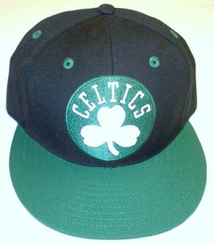 Boston Celtics Fitted Flat Bill Hat by Adidas - Size 7 3/8  - TR02M