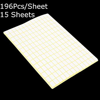 8c86a83817d Fincos 196Pcs Sheet Blank Sticky Labels 9 x13MM White Price Stickers Tags  15 Sheets  Amazon.com  Industrial   Scientific
