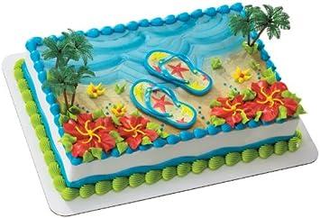 Superb Summer Flip Flops Decoset Cake Decoration Amazon Co Uk Kitchen Birthday Cards Printable Inklcafe Filternl
