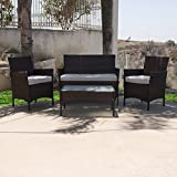 NEW Brown 4PCS Outdoor Rattan Wicker Patio Garden Sofa Couch Furniture Set Dark Durable Wicker/Rattan & Steel Frame