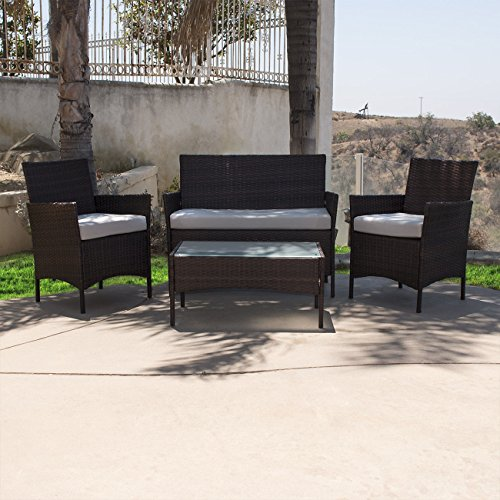 NEW Brown 4PCS Outdoor Rattan Wicker Patio Garden Sofa Couch Furniture Set Dark Durable Wicker/Rattan & Steel Frame (Cheapest Dining Sets Furniture)