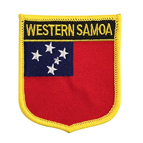 (Samoa National Flag Emblem Patch Iron-On Shield Morale Patch for Rugby Island Nations and The World Cup (Samoan Crest, 2.75