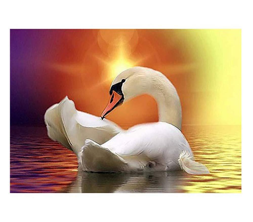 Yzrh Little Swan In Den Sonnenuntergang Diamant Malerei Set 5D DIY Home Decor Zeichnung Zubehör Diamant Kits Stickerei Gemälde Strass Eingefügt Kreuzstich Für Erwachsene & Kinder 90x120cm