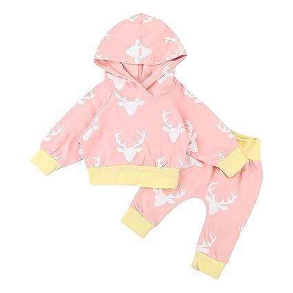 Xinantime - Ropa Para Bebés Sudaderas Con Capucha de Cuernos + Trajes Pantalones 2pcs 0-